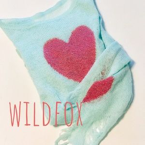 WILDFOX DESTROYED GREEN & PINK HEART SWEATER